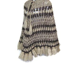 70s Wool Poncho Knit Poncho Crochet Wool Poncho 1970s Vintage Poncho Crochet Poncho Brown Cream  Poncho Brown Poncho Fall Poncho