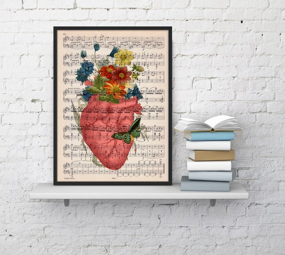Spring Sale Pink human heart with flowers over music sheet- Spring time heart print over music sheet. MP01b