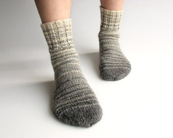 EU Size 38-39 - Hand Knitted Striped Socks - 100% Natural Wool - Winter Autumn Warm Clothing