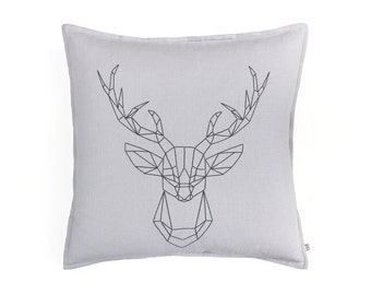"""Decorative pillow cover Elk, Embroidered linen pillow, Geometric throw pillow cover, 20""""x 20"""", Dove grey pillow SALE"""