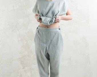 Dove grey linen women's pants, Natural light grey linen trousers for woman, Linen women's clothing by LHI