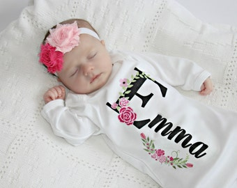 Personalized baby girl clothes and baby boy clothes by sassylocks newborn girl take home outfit personalized baby girl clothes baby girl outfits baby clothes infant gown negle