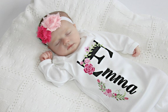 Baby Gift Logo : Personalized baby gift girl newborn coming home outfit