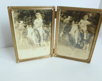 Sepia Portraits Photographs of Children Boy and Girl on Pony in Metal and Glass Folding Frame
