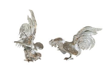 Vintage Cast Metal Silver Plate Ornamental Fighting Game Cocks