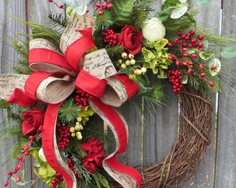 Christmas Wreath / Winter Wreath, Grapevine Wreath, Script Ribbon, Rose, Hydrangea, Greenery, Berries, Natural Wreath