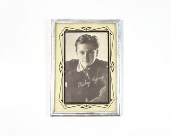Vintage Framed Mickey Rooney Photo / Art Deco Picture Frame / Old Hollywood Memorabilia