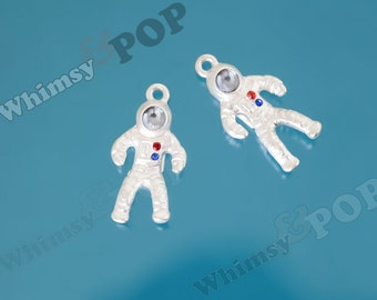 1 - Silver Blue White Red Astronaut Space Suit Charm, Astronaut Charm, Astronaut Pendant, 25mm x 14mm (2-4D)