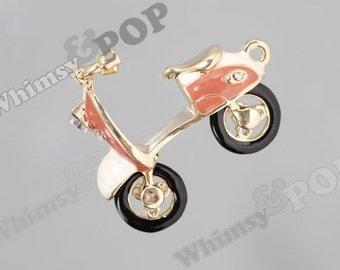 1 - 3D Gold Tone Miniature Kawaii Scooter Charm, Scooter Charm, Scooter Pendant, 40mm x 47mm (R8-224)