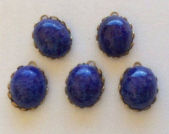 Vintage Lapis Matrix Oval 12x10mm Cabochons in 14x11mm Ruffled Brass Settings QTY - 5 ONLY LOT