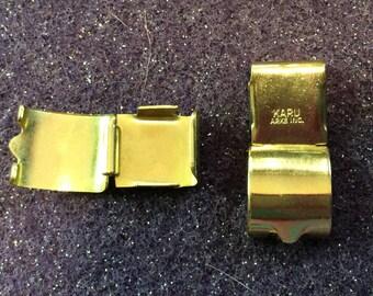 Vintage Signed KARU Arke, Inc. Bracelet Clasps Gold Fold over circa 1960s QTY - 1