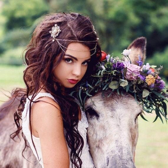 Bridal Headpiece, Head Chain, Bridal Hair Chain, Bohemian Bridal Hairpiece, Freshwater Pearl Hair Chain, Draped Hair Chain  HIGH COUNTRY