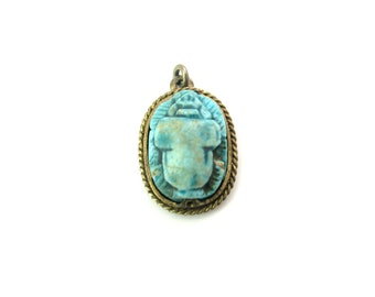 Scarab Pendant. Art Deco Egyptian Revival Charm. Turquoise Ceramic Beetle. Small Faience Scarab & Gilt Brass. Vintage 1920s Art Deco Jewelry