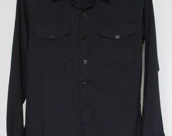 Black Sanford Shirt Co Mens Medium Long Sleeve Solid Black Anchor Buttons Military Baltimore, MD Polyester Rayon