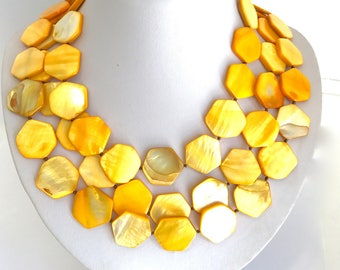 Sunny Yellow Luminous Shell Multi Strand Collar Necklace Mother of Pearl Shell Necklace Yellow Necklace Yellow Beaded Necklace