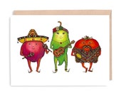 SALSA Note Card - BLANK - birthday card, spicy, salsa, green pepper, tomato card, illustration