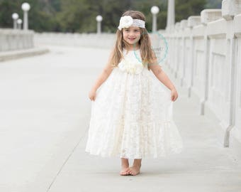 ivory flower girl dress lace, lace girl dress in ivory, flower girl dresses, toddler flower girl, baby girl dress, ivory dresses, rustic