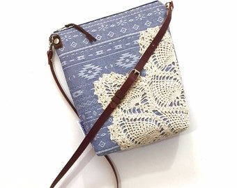 Ready to Ship Chambray Linen Crossbody Purse with Adjustable Leather Strap