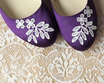 Wedding Flat Shoes Purple Satin Bridal Ballet Flats with Lace Guipure Bride Engagement Special Night Size 8 (US)