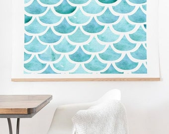 Turquoise blue waves La Mer ocean theme ready-to-hang large watercolor art print, beach house present housewarming gift new house wall decor