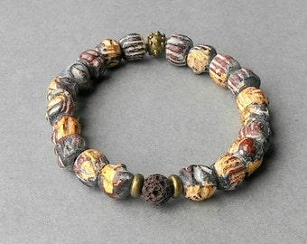 African Trade Beads, African Trade Bead Bracelet, Recycle Glass Trade Beads, Bronze metal, elastic strethc bracelet