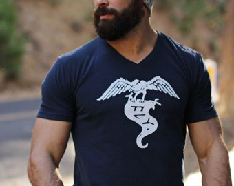 Father's Day Sale - Eagle t-shirt for Men - Blue tee - Navy Blue t-shirt for men - Men's Clothing - Men's Apparel - Navy tshirt - FLY tee