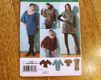 Boho FASHION Knit Mini-Dress, Tunic Dress, Peasant Blouse & Sheath - Plus Size 14 - 16 - 18 - 20 - 22 - UNCUT Sewing Pattern Simplicity 2804