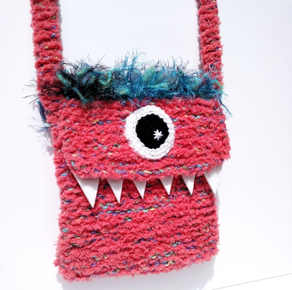 Silly Cyclops Hand Knit Bag - Coral Pink and Blue