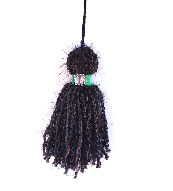 Giant Over Sized Braided Yarn Tassel in Black, Blue and Green with Rhinestone Button Accent