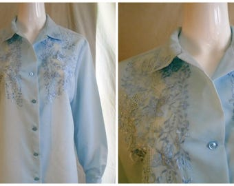 Vintage 1960s Blouse Pale Blue with Blue Embroidery Long Sleeve XL
