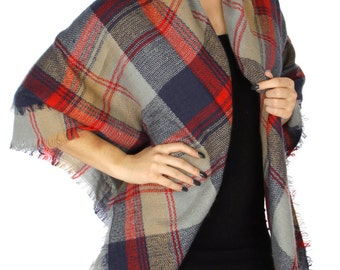 Thick Knit Big Oversized Blanket Plaid Scarf, Plaid Shawl, Plaid wrap, Classic Plaid Scarf, Thick Square Plaid Scarf, Blanket Scarf, Womens
