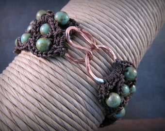 Bohemian Jewelry, Turquoise Cuff Bracelet, Artisan Copper Hook and Eye Clasp, Rustic Boho Chic