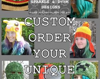 Custom Order Unique Weird Geek Nerd Odd Silly Wacky Strange Crochet Hat Toque Chapeau