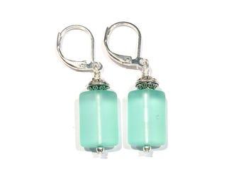 Aqua Sea Glass Earrings, Beach Earrings Beach Jewelry Ocean Jewelry Sea Glass Jewelry Beach Glass Earrings Beach Lovers Gift, Gifts Under 10