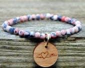 Denim Pink Splash Beaded Long Island Love Bracelet