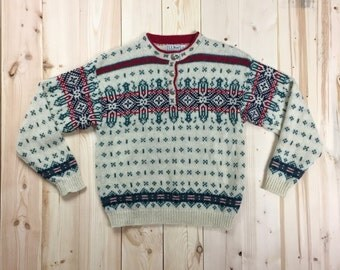LL Bean Fair Isle Wool Sweater Pullover Women's Medium Vintage 1980's Button Neck Stripe Crew Neck Made in the USA Cream Green Red Blue