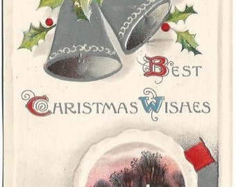Snow Covered Cottage Scene Orange Sunset Frozen Pond Christmas Wishes Silver Bells Holly Leaves & Holly Berries Vintage Postcard