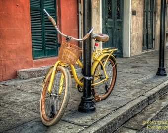 New Orleans Bicycle Photograph, French Quarter, Yellow Bike with Basket, Travel Photography, Wall Art, New Orleans Print, Mardi Gras