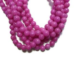 Orchid Pink Mountain Jade - 6mm Round Bead - Full Strand - 67 beads - Magenta Bubble Gum Rose Fuchsia - Mashan - marble