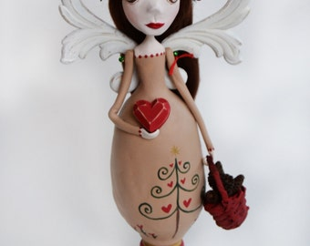 Christmas Angel - Angel Art Doll - Christmas Decor - Ready to Ship