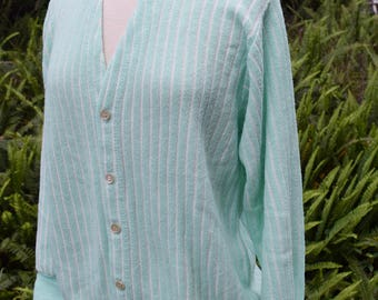 Izod  Striped Cardigan Vintage 1960s 1970s Bright Seafoam Green And White Old Man Sweater