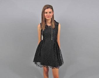 60s Lace Mini Dress / Vintage 60s Dress / Floral Lace Dress / Party Dress Δ size: S