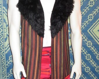 Large Unisex Black Faux Fur Trimmed Striped Upholstery Fabric Burning Man Festival Costume Vest