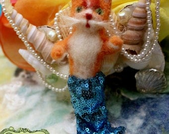 Mercat Meowr, Needle-Felted doll by Castle of Costa Mesa