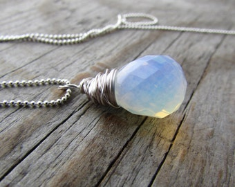 Opalite Necklace wire wrapped faceted opalite drop pendant