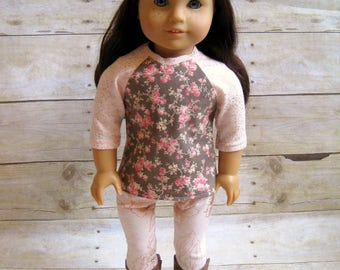 Blush knit leggings for 18 inch dolls - doll leggings - blush and rose gold doll leggings