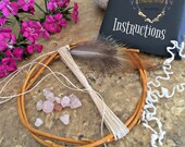 DIY dream catcher kit , natural , pink quartz gemstones