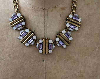 J. Crew Gold Metal Statement Necklace with Lavender and Pearlized Rhinestone