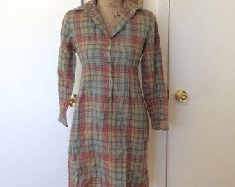 Vintage Wool Shirt Dress, Size S/M