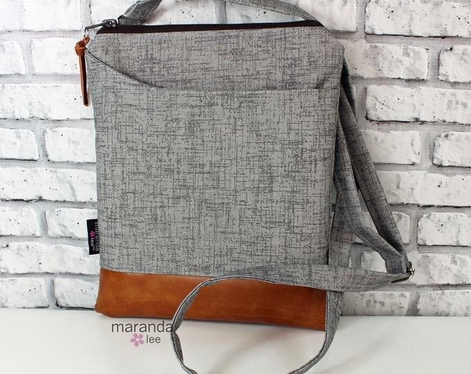ZOE Messenger  - Grey Denim -  with Outside Pocket